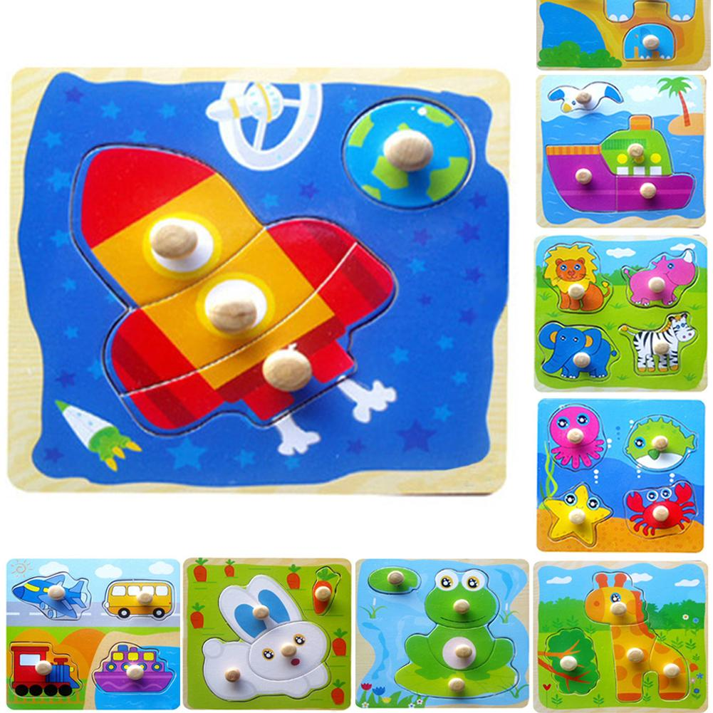 Classic Baby Toddler Intelligence Development Animal Wooden Brick Puzzle Toy