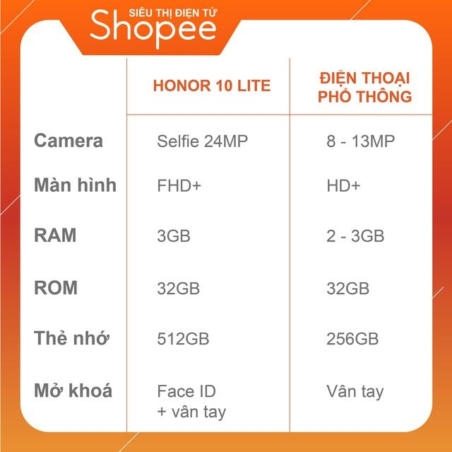 Điện Thoại Huawei Honor 10 Lite 24MP selfie 3GB/32GB - Hàng Chính Hãng