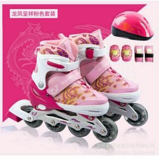 Giày trượt Patin trẻ em – Đủ phụ kiện – Bé Gái (Xanh- hồng)
