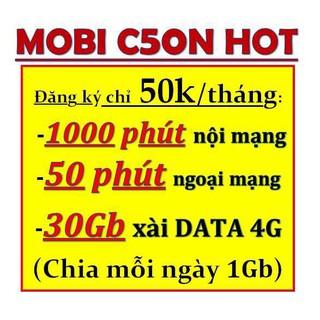 Sim 4G Mobi C50N 50k/tháng = 30Gb + 1000 phút nội mạng + 50 phút ngoại mạng