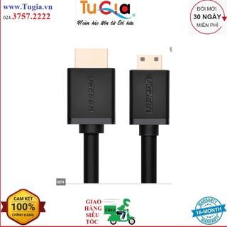 Cáp mini HDMI sang HDMI 1.4 thuần đồng 19+1 UGREEN HD108 10195 dài 1M - Hàng Chính Hãng