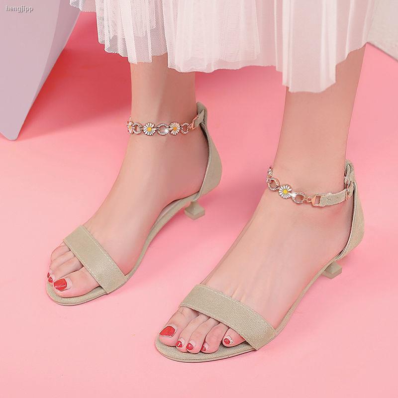 Giày Sandal Cao Gót 2021 4cm Cài Khóa Trẻ Trung Quyến Rũ Dành Cho Nữ
