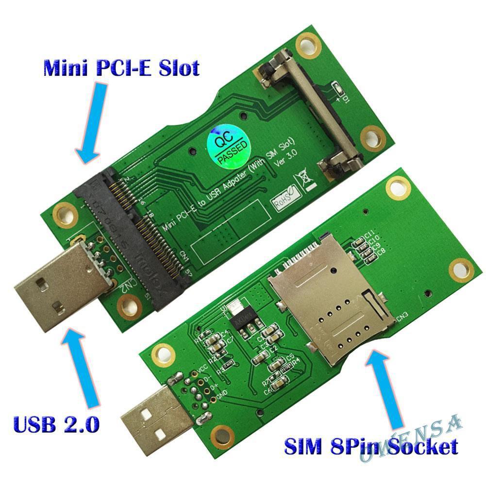 Đầu chuyển đổi Mini Pci-E sang USB với khe cắm thẻ sim 8 chân cho Wwan/Lte