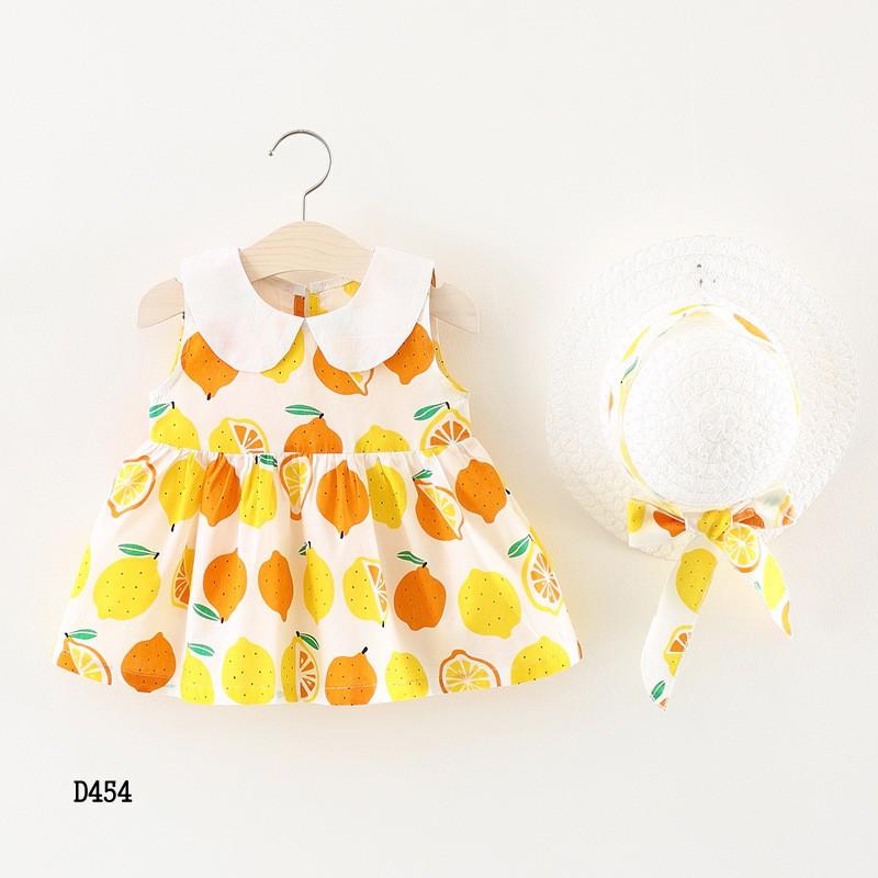 Set váy kèm nón bé gái 8-13kg hàng Quảng Châu D454