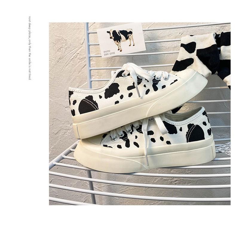VỀ THÊM GẤU_ Giầy thể thao chất vải canvas nữ bò sữa cow milk dáng cơ bản basic 2021_VIDEO (form rộng LẤY giảm 1 size)