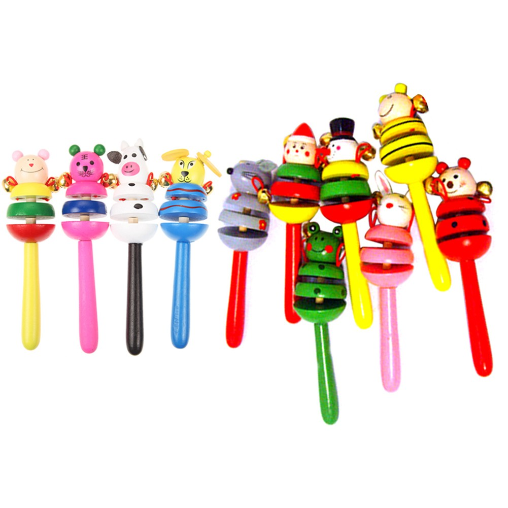 Colorful Wooden Cartoon Rattles Kids Party Child Baby Beach Shaker Toy [KidsDreamMall]