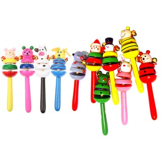 Colorful Wooden Cartoon Rattles Kids Party Child Baby Beach Shaker Toy