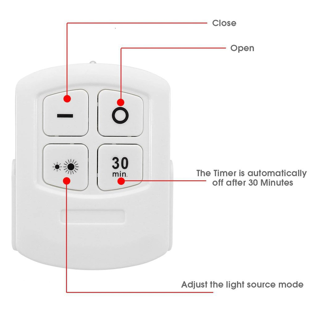 Đèn LED dán tường có điều khiển từ xa, hẹn giờ, điều chỉnh mức sáng tiện lợi - 3 bóng đèn kèm điều khiển - Moon Shop
