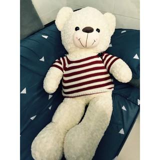 SALE Gấu bông Teddy Cao Cấp khổ vải 1,2m Cao 1m màu trắng hồng hàng VNXK ( Màu kem )
