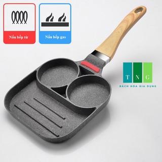 Chảo chống dính ba ngăn, chảo đá chiên trứng I Nấu bếp từ và bếp gas