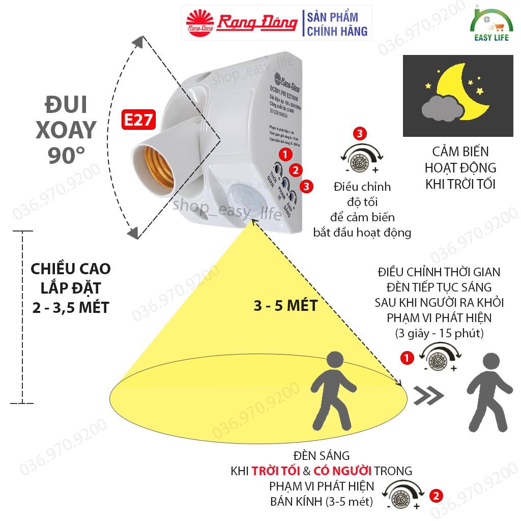 [Chính Hãng] Đui Đèn Cảm Biến Chuyển Động - Rạng Đông PIR-E27, siêu bền