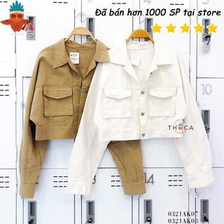 Áo khoác jeans croptop 2 túi nấp màu be, trắng THOCA HOUSE cá tính, trẻ trung, thời trang phù hợp đi chơi, du lịch thumbnail