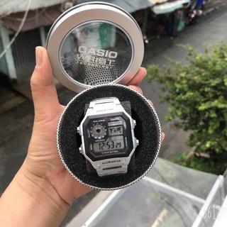 Đồng hồ nam Casio AE 1200-WHD classic chống nước , dây thép không gỉ (dây bạc mặt đen)-FULL BOX THiếc chính hãng thumbnail