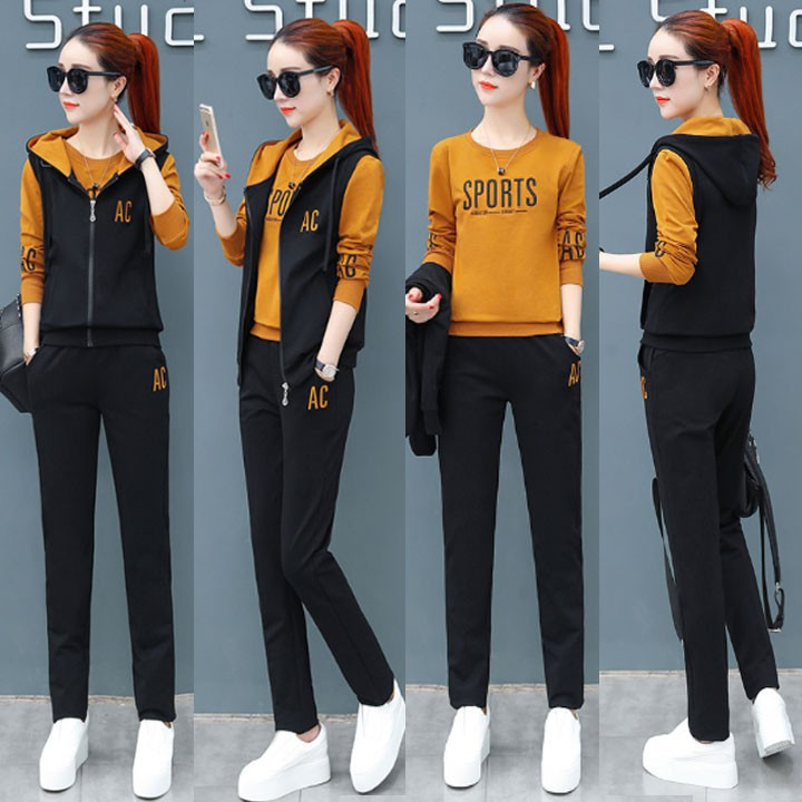<GIÁ RẺ> * Sét 3 bộ đồ thể thao nữ thêu chữ AC TT249215 * <ĐỒ BỘ > áo thun nam đồ thể thao