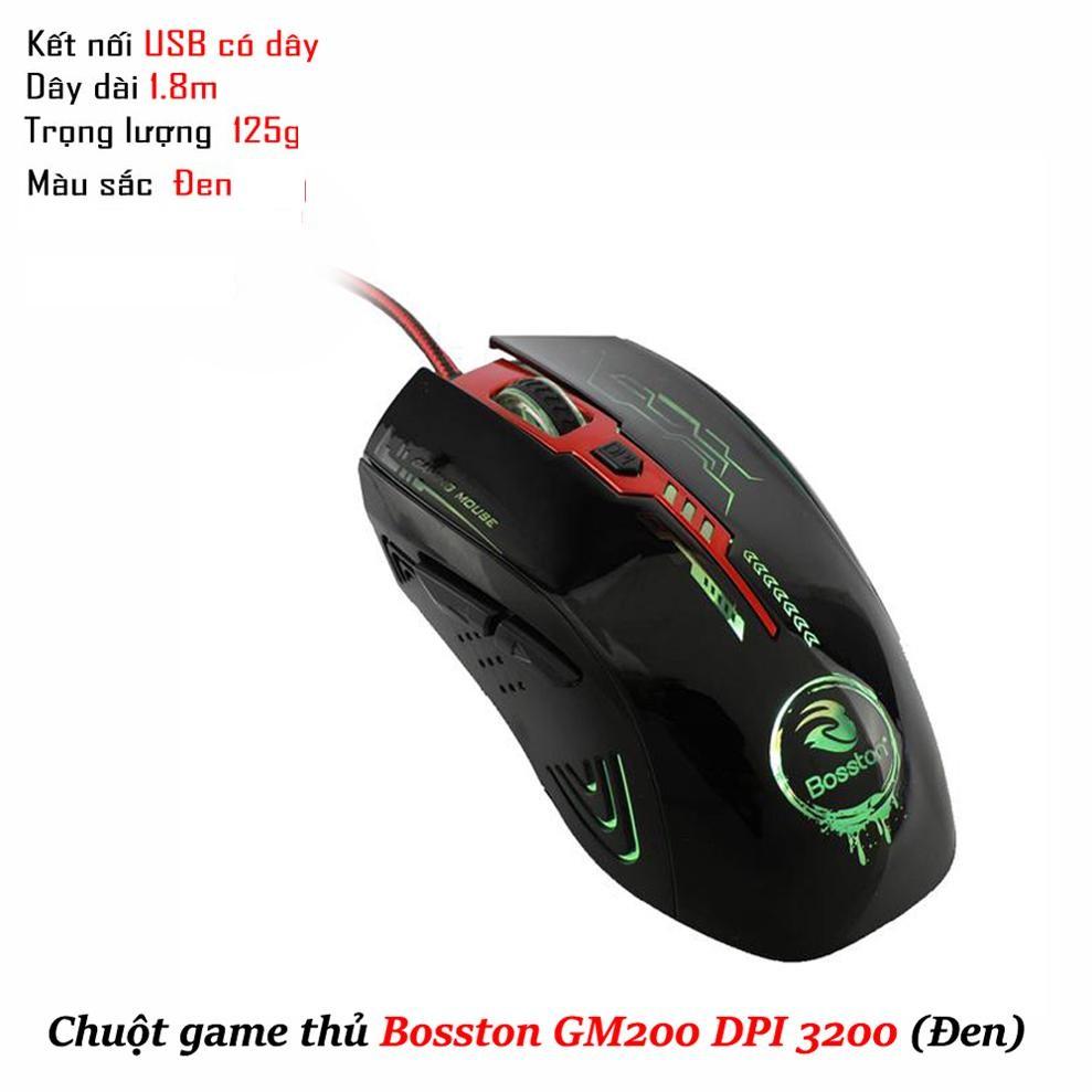 Chuột game thủ Bosston GM200 DPI 3200 (Đen) - Bảo hành 12 tháng