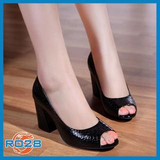 Giày cao gót nữ đẹp Rosata vân cá sấu hở mũi RO28 thumbnail