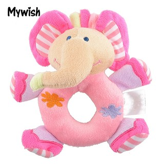 Infant Kidss Cute Pink Elephant Plush Rattle Educational Toys