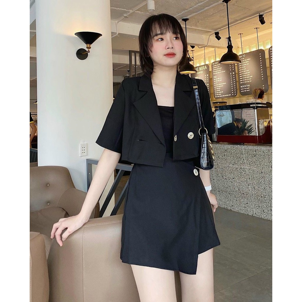 Set vest nữ croptop + chân váy đen