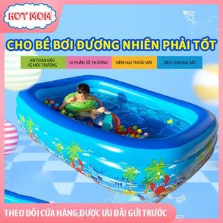 [Kèm bơm điện giá sốc] Phao bể bơi cho bé trong nhà có đáy chống trượt, 2 kích cỡ chọn lựa 2 tầng 1m2 và 3 tầng 1m5