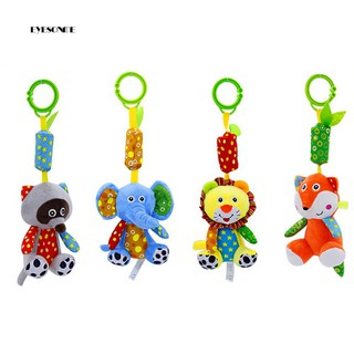 ♕Cartoon Lion Elephant Fox Raccoon Animal Rattle Toy Baby Crib Pram Hanging Doll