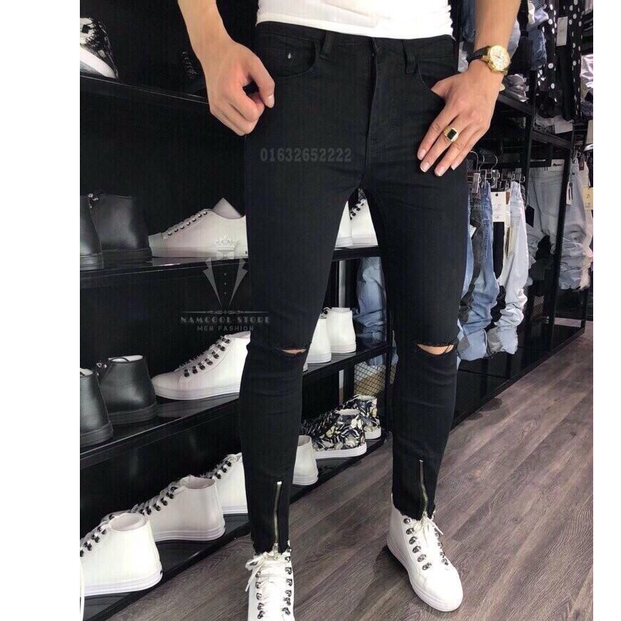 Quần Jean Nam jeans nam rách gối jeans nam body quần jeans nam xước Khóa Ống Cao Cấp Wash fashionteengroup MS 1993