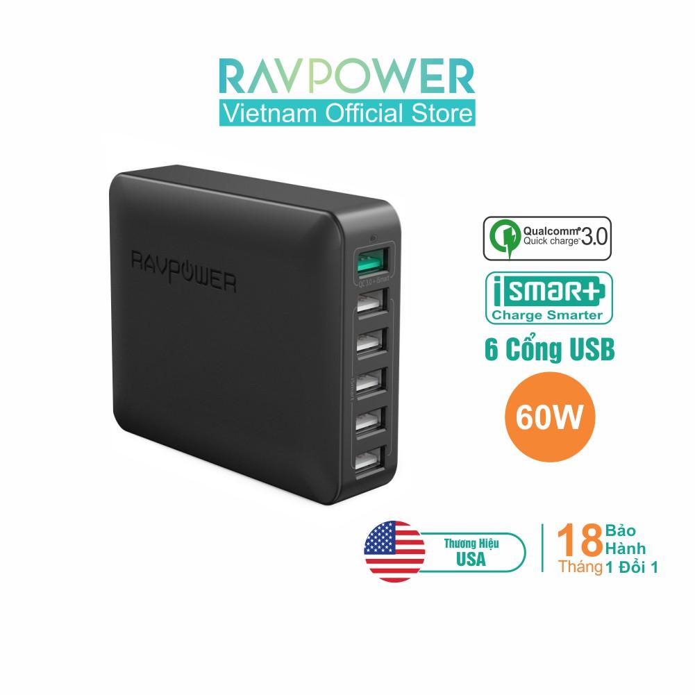 Củ Sạc 6 Cổng 60W RAVPower RP-PC029 Quick Charge 3.0 & iSmart 2.0 Hàng Chính