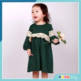 Váy Bé Gái 💕FREESHIP💕 Váy Babydoll Cho Bé Màu Xanh Rêu Phối Ren Ngực Ren Tay