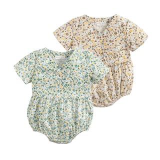 Áo liền quần Sanlutoz tay ngắn bằng cotton họa tiết hoa cho bé gái