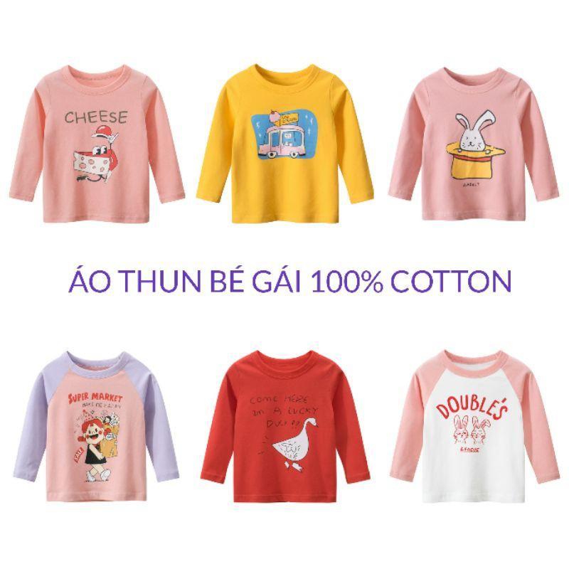 Áo bé gái 27HOME áo thun dài tay cho bé chất cotton in hình xinh xắn