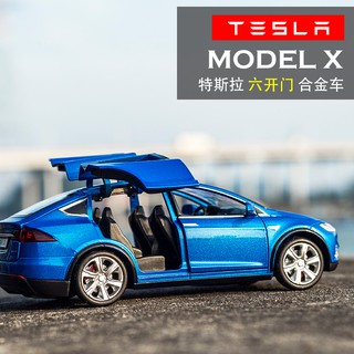 Tesla ModelX alloy car model 1:32 simulation car model boy pull back car childre