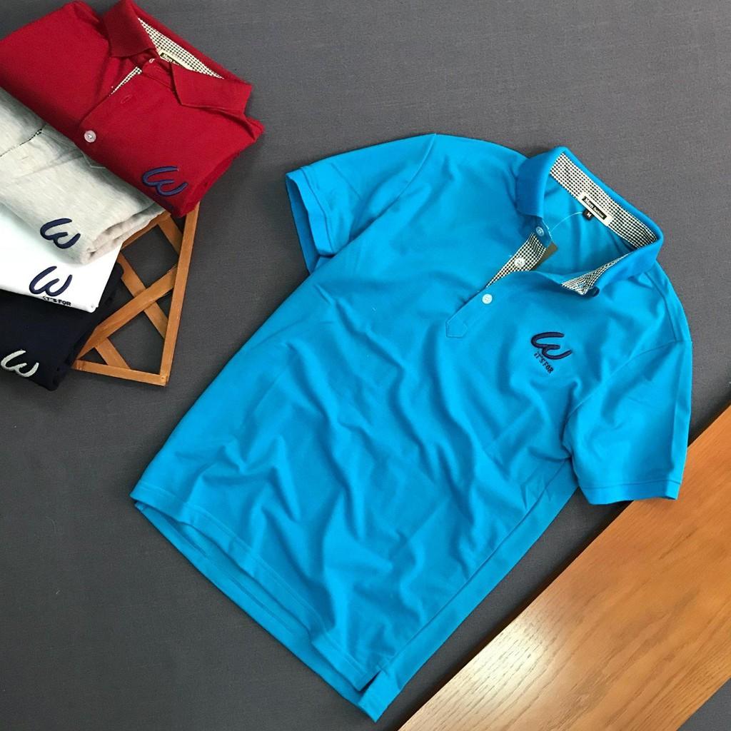 Áo thun nam logo W phông trơn thiết kế cao cấp - Áo ngắn tay có cổ