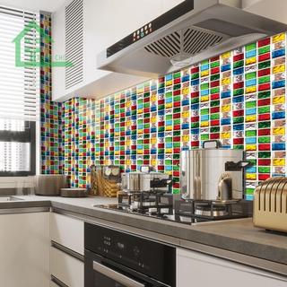 10pcs Bathroom Self-adhesive Waterproof Decals 10cm Floor Tiles Wall Stickers Art Mural Home Decoration