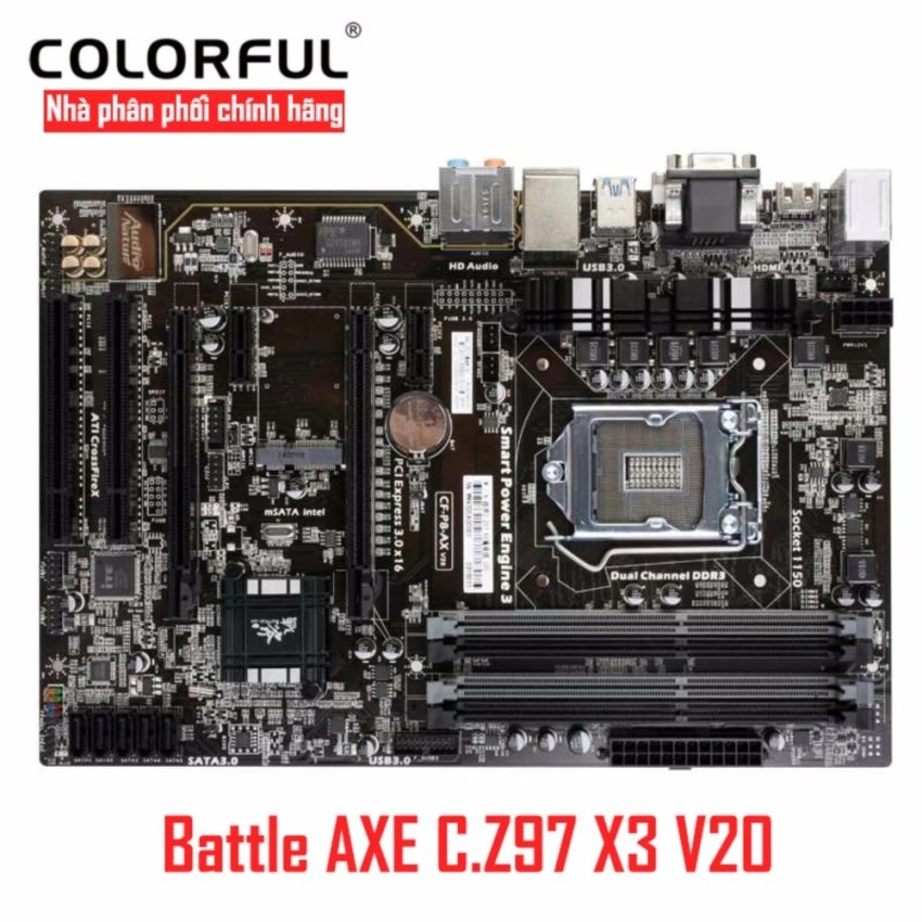 Bo mạch chủ Mainboard Colorful Battle AXE C. Z97 X3 Magic Audio V20