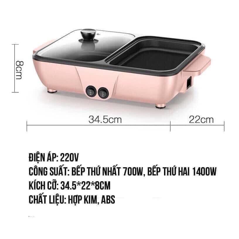 (BH 1 ĐỔI 1) Nồi Lẩu Nướng 2 trong 1, Bếp Lẩu Nướng 2 ngăn Siêu Chống Dính Đa Năng - Bếp lẩu nướng mini, Nồi lẩu 2 ngăn