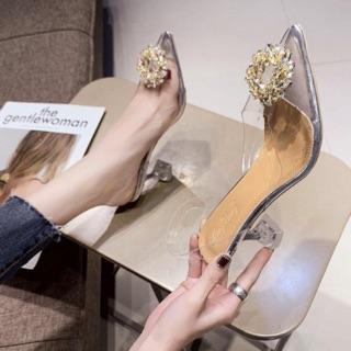 [Mã FASHIONRNK giảm 10K đơn 50K] [Kèm ảnh thật] Giày cao gót trong hoa đá Vàng gót ly 8p thumbnail
