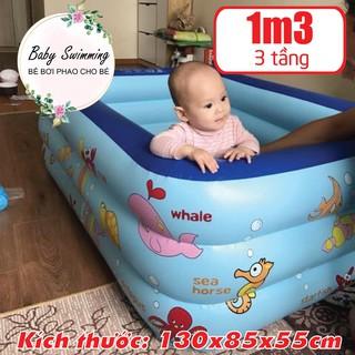 ( Sale ) Bể Bơi Phao Cho Bé – 1m3 – 3 Tầng – 130x90x50cm – Có Đáy Chống Trượt