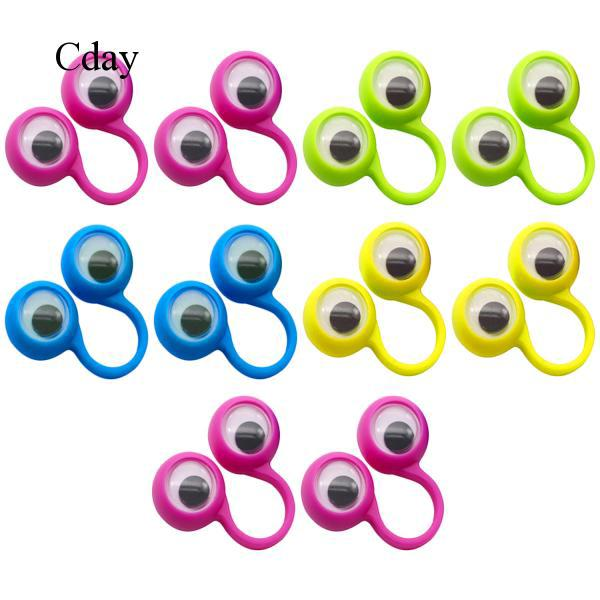10x Large Eye Finger Puppets Googly Eyes Rings Wiggle Eyeballs for Children Toys