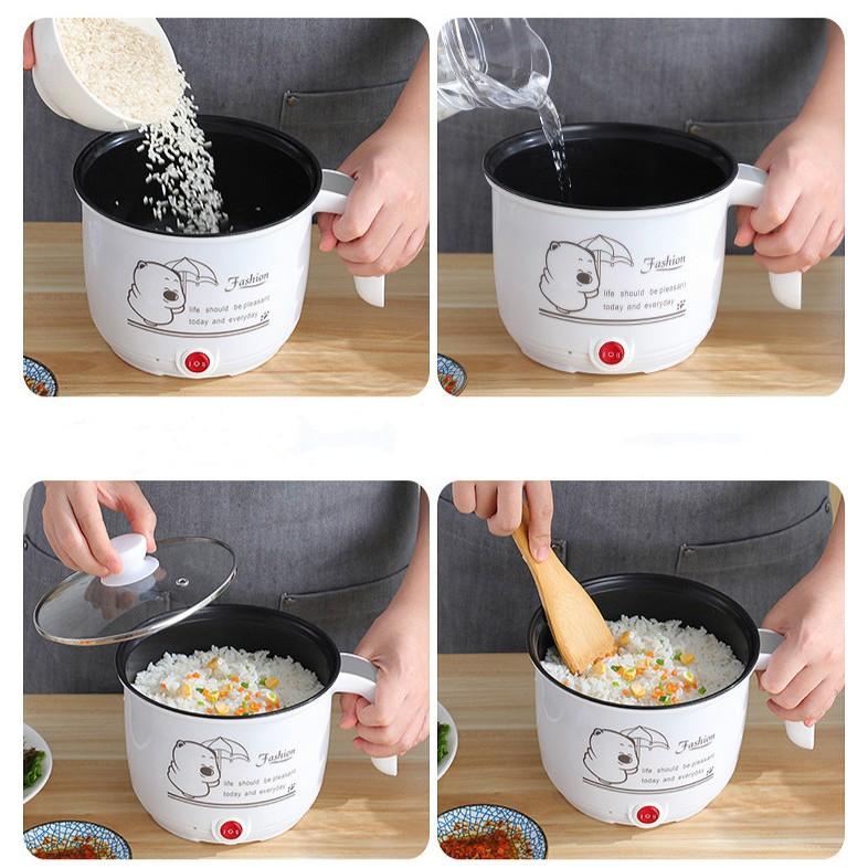 Ca Nấu Mì, Nấu Cơm Đa Năng Có Tay Cầm 1,8L [HÀNG HIỆU] Nồi Lẩu Điện Mini Kèm Giá Hấp INOX
