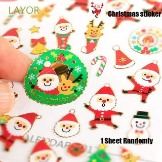 LAYOR 1 Sheet Random Kids Toys Diary Scrapbooking Happy New Year Xmas Deco Merry Christmas Adhesive
