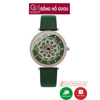 Đồng hồ nữ đeo tay dây da Guou viền đính đá mạ vàng chính hãng chống nước tuyệt đối 6021 thumbnail