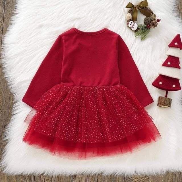 Váy đỏ tuần lộc bé gái
