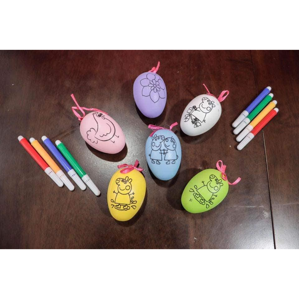 Trứng tô màu tặng kèm bút dạ