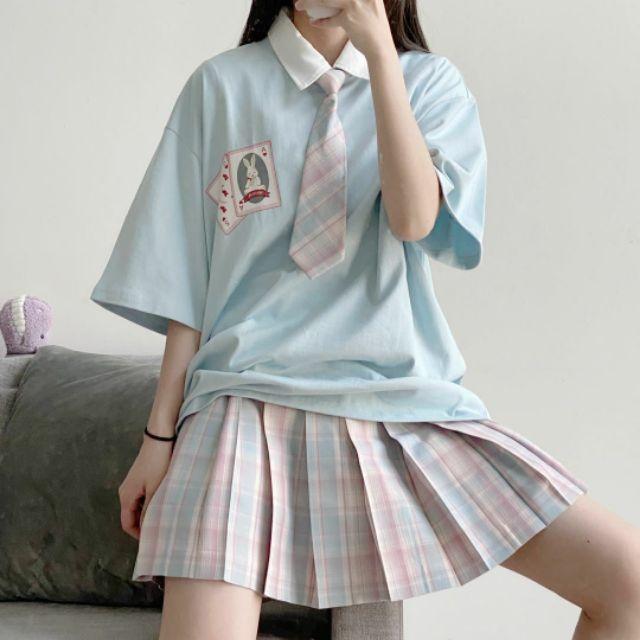 [Order] CÓ ẢNH THẬT CUỐI - Set đồ áo phông xanh da trời nhạt, chân váy caro tặng kèm cà vạt xinh xinh