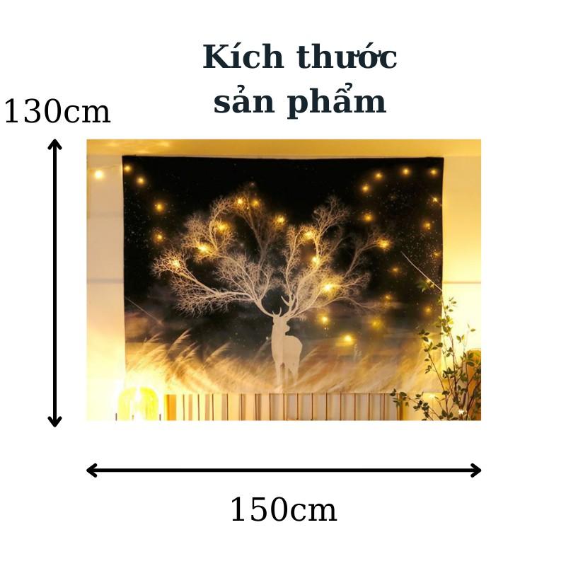 [HÀNG ĐẸP] Tranh vải treo tường hình hươu , sư tử trang trí phòng ngủ vintage (1m5 x 1m3, TẶNG đèn + móc treo)