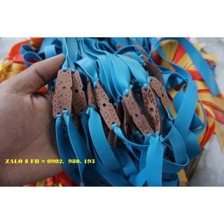 [ ẢNH THẬT 100% ] 5 bộ dây ná cao su dẹt 0.9 – 1.0 mm có buộc da ( xanh lục )