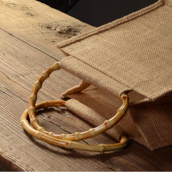 [Nhiều kiểu] Túi Đay Retro Quai Tre, Kiểu dáng Vintage, Kích thước 22 * 23 * 15CM - Sản phẩm thân thiện với Môi trường
