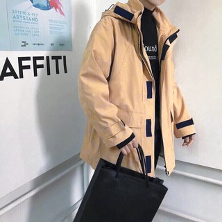 [CÓ ẢNH THẬT] Áo khoác kaki dáng dài màu TAN form unisex