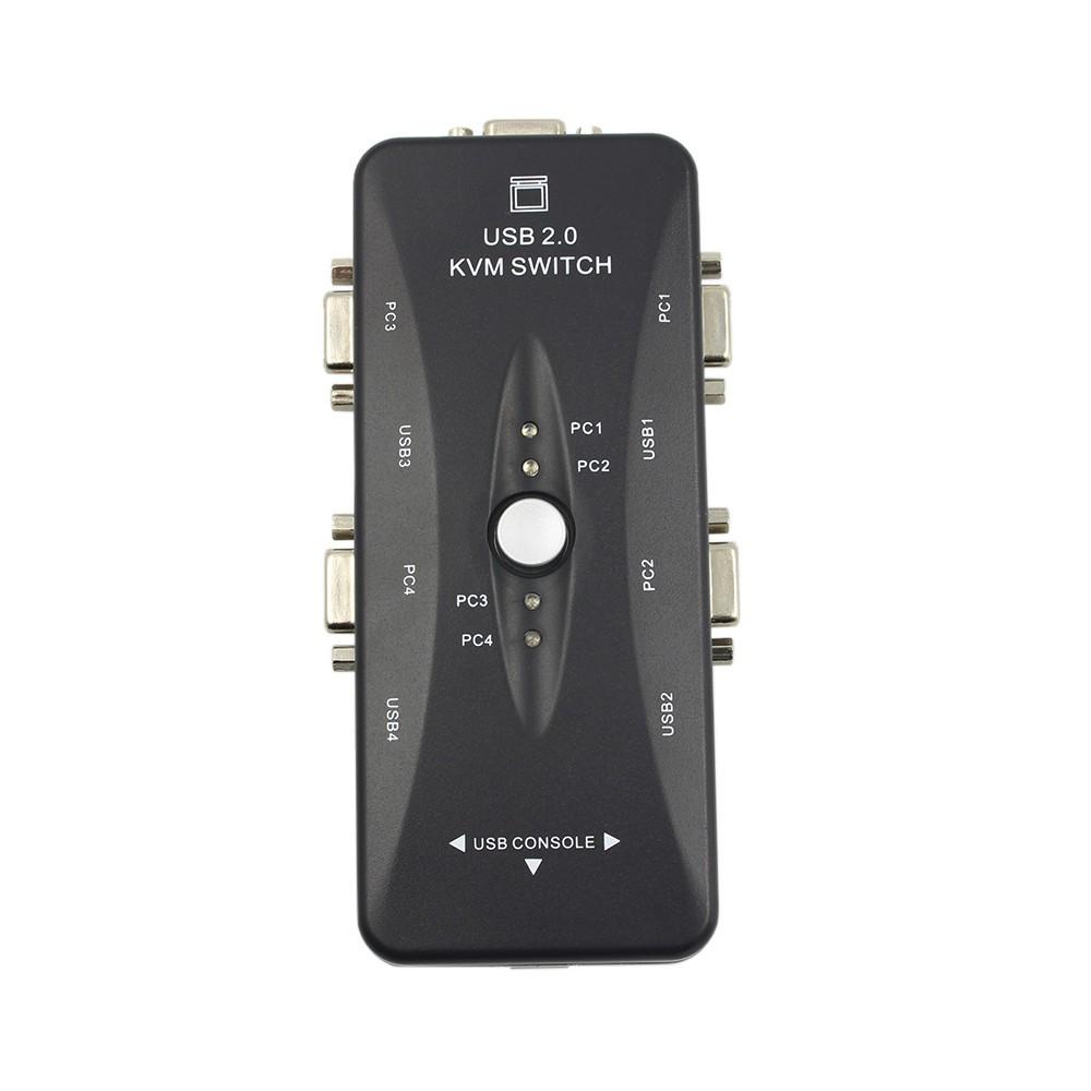 Bộ chia 4 cổng USB 2.0 KVM cho chuột / bàn phím / VGA / màn hình Video 200MHz 1920x1440