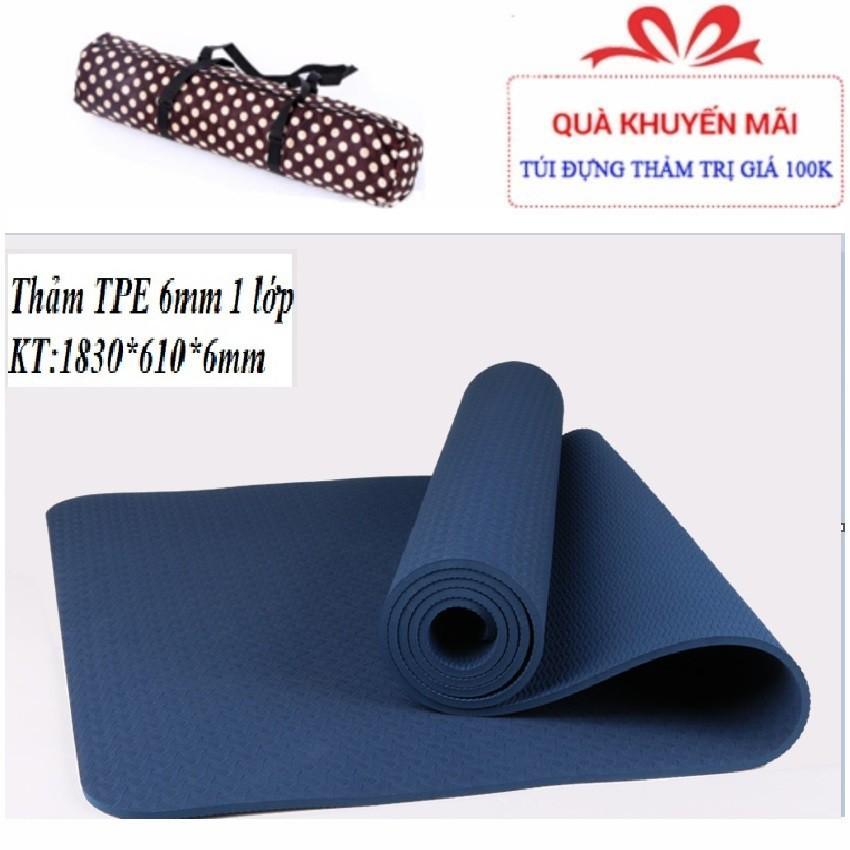 Thảm tập Yoga Mat TPE 6mm một lớp tặng túi xịn