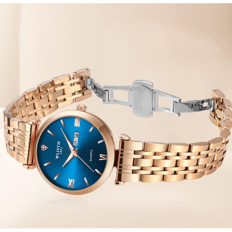 Đồng hồ nam nữ Wlisth dây thép sang trọng